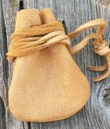 "2""x3"" Medium Gold Buckskin Medicine Bag (No Fringe)"