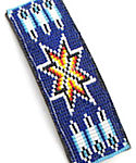 Blue Morning Star and Feathers Beaded Barrette