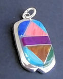 Inlaid Multi-Stone Stone Pendant with Chain #P2-041
