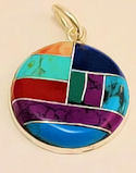 #603 - Round Mosaic Inlaid Stone Pendant