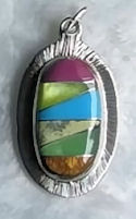 #709 Zuni Inspired Oval Mosaic Stone Pendant