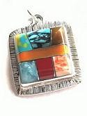Square Mosaic Inlaid Stone Pendant