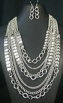 Chain and Block necklace set