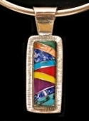 Multistone Inlaid Pendant #44-001