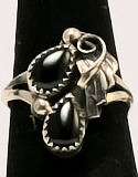 Black Onyx Sterling Silver Ring #30