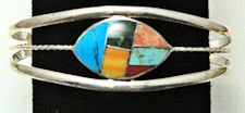 Southwest Zuni Inspired Inlaid Stone Bracelet #FB212