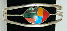 Southwest Zuni Inspired Inlaid Stone Bracelet #FB203