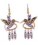 Pacific Northwest Hummingbird Dangle Feather Earrings