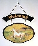 Horse Wooden Welcome Plaque