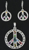 CZ Multi-color Peace Sign Earrings & Pendant Set