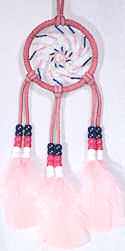 "Beaded Pink 3"" Spiral Dream Catcher Mirror Ornament"