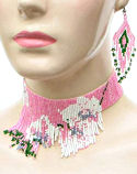 Pink Floral Seed Bead Choker & Matching Earrings