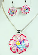 Pink Flower Butterfly Hippie Pendant & Earrings Set