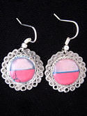 Pink Stone & Pink Shell Filigiree Inlaid Earrings