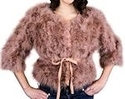 Praline Marabou Jacket w/Cinch Belt