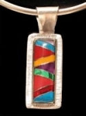 Rectangle stone inlay pendant #P-034