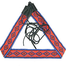 Red and Blue Native American Inspired Geometric Beaded Belt