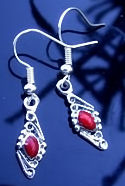 Navajo Inspired Scrolled Diamond Shaped Coral Earrings