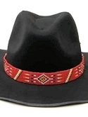Red Native American Inspired Beaded Hatband or Belt
