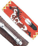 Red Pinto Horse & Feather Beaded Barrette