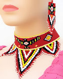 Thunderbird Beaded Choker Necklace & Earrings Set