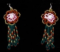 Red Rose flower seed bead earrings