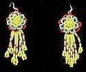 Yellow and Turquoise Rose flower seed bead earrings