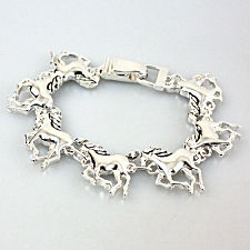 Running Horses Charm Bracelet with Folding Hinge Clasp