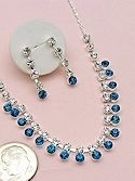 AQUAMARINE CZ necklace and earring set.