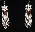 Shooting Star Brown and White seed bead earrings.