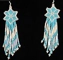 Shooting Star Turquoise and Pearl White seed bead earrings