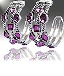 Amethyst Silver Hoop Earrings 2