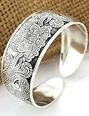 Antiqued Lotus Flower and Bluebirds Silver Cuff Bracelet