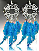 Silver & Turquoise Feather Earrings
