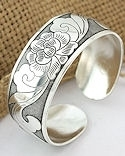 Squash Blossom and Leaves Silver Cuff Bracelet