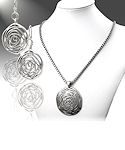 Antique Silver Medallion Necklace with Matching Earrings