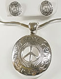 Silver PEACE Pendant and Earrings