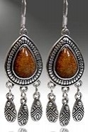 Antique Silver Tiger Eye Dangle Earrings