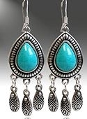 Antique Silver Turquoise Dangle Earrings