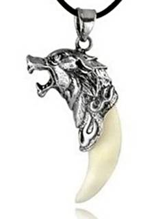 Silver Wolf Head with Real Tooth Pendant Necklace