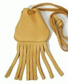 "2""x2"" Small Fringed Gold or Black Buckskin Medicine Bag 1"