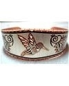 Southwest Inspired Hummingbird Diamond Cut Copper Bracelet