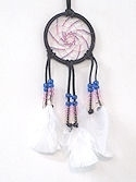 "Beaded Dark purple 3"" Spiral Dream Catcher Mirror Ornament"