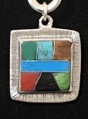 Square Powerstone Inlaid Pendant #3-004A