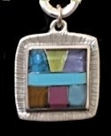 Square Powerstone Inlaid Pendant #3-004B