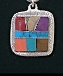 Square Powerstone Inlaid Pendant #3-004C