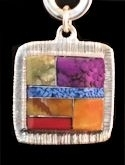 Square Powerstone Inlaid Pendant #3-004G