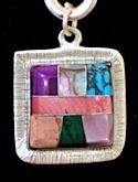 Square Powerstone Inlaid Pendant #3-004F