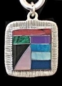 Square Powerstone Inlaid Pendant #3-009D