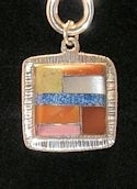 Square Powerstone Inlaid Pendant #3-009